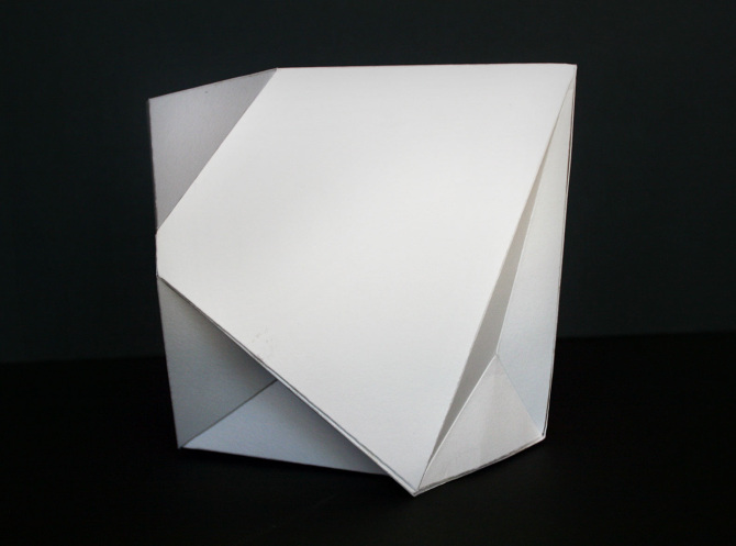 Using One Sheet Of Paper A Carefully Crafted Truncated 3 D Cube This Is An Abstract Design Concept Making Use Geometric Volume